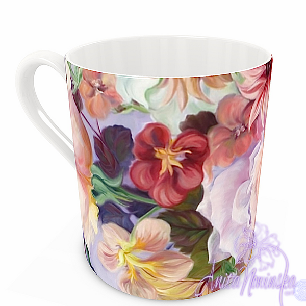 floral art bone china cup home accessories, lilac, gold, purple