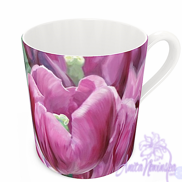 floral art bone china cup home accessories, pink tulips