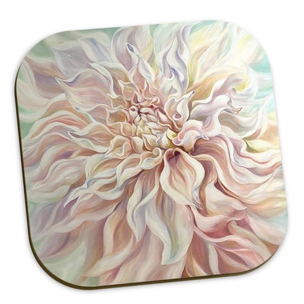 pale dahlia floral coasters for home accessories
