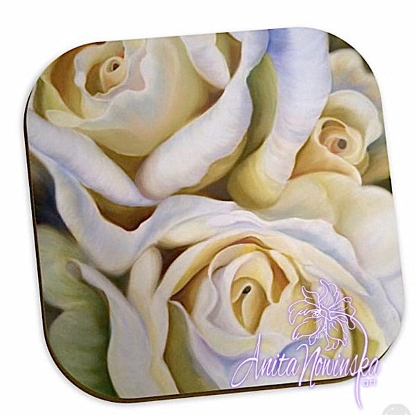 white roses floral coasters for home accessories
