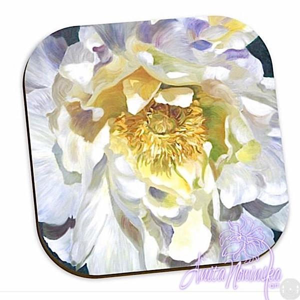 white peony floral coasters, home accessories