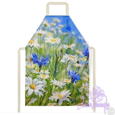 floral designer Apron, kitchen & gardening accessories with flower paintings daisies