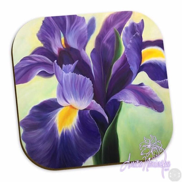 purple iris floral coasters for home accessories