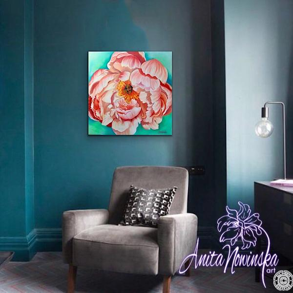 interior decor with flower painting of peach peony by Anita Nowinska