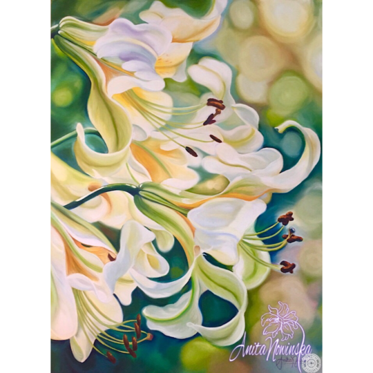 flower painting of white lilies on green by Anita Nowinska