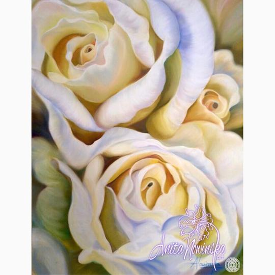 Flower painting of white roses by Anita nowinska art- interior decor