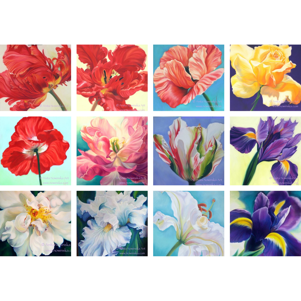 Pack of 12, Assorted - 'Feelme' Art Greetings Cards- Flower Paintings