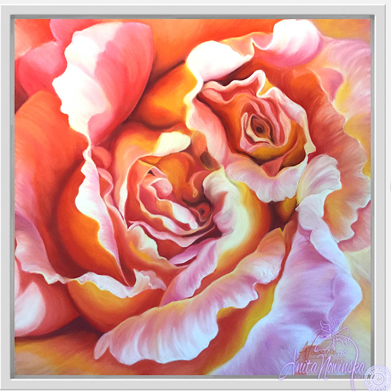 Integrity- Peach Rose Flower Painting