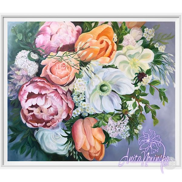 framed A3 print of spring bouquet flower painting by Anita Nowinska