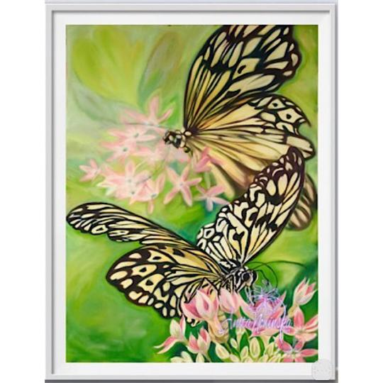 framed A3 print of black & white butterfly  painting by Anita Nowinska