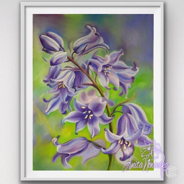 framed A3 print of bluebells flower painting by Anita Nowinska