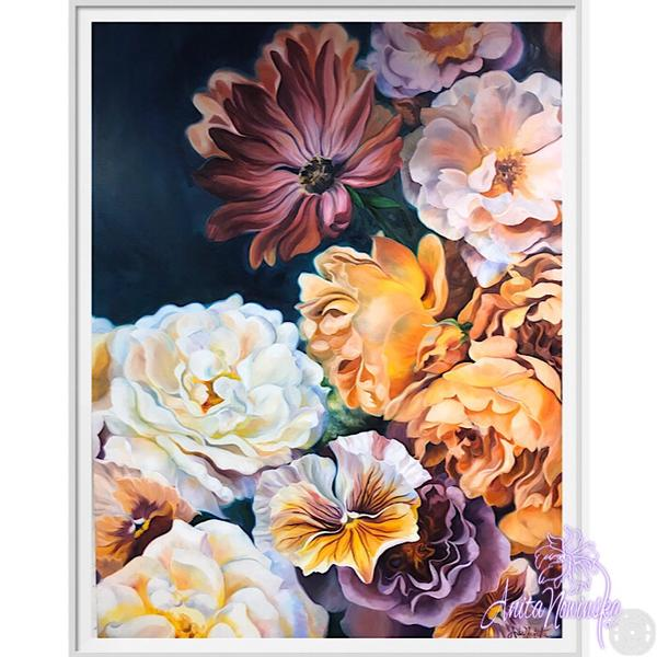 framed A3 print of white &  gold roses flower painting by Anita Nowinska