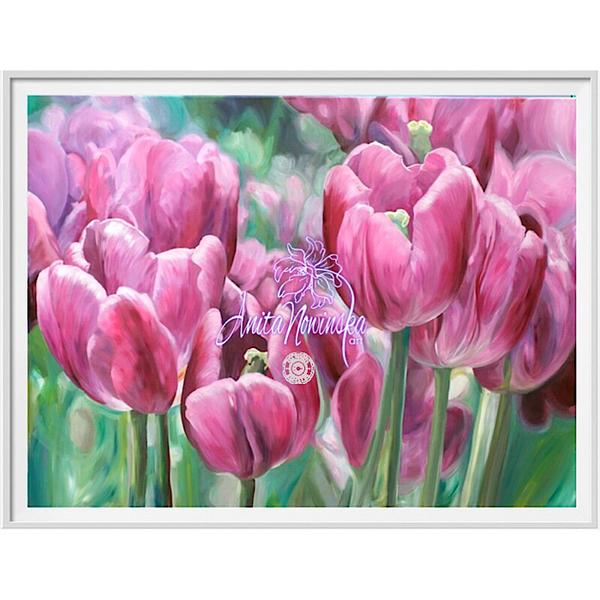 framed A3 print of pink tulips flower painting by Anita Nowinska