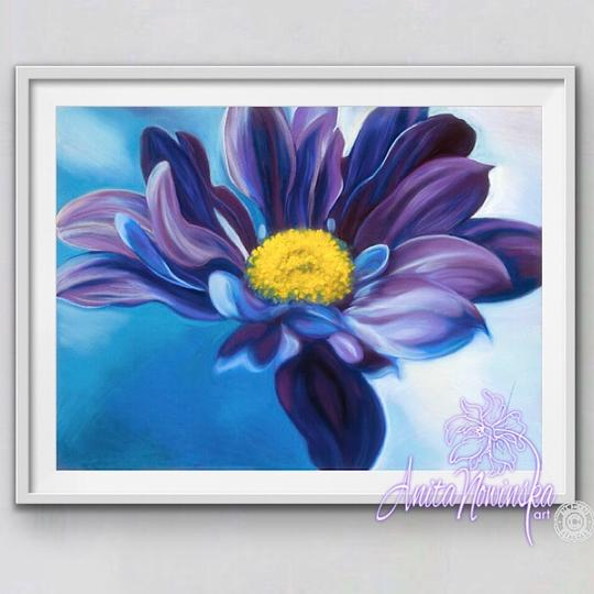 framed A3 print of purple aster flower painting by Anita Nowinska