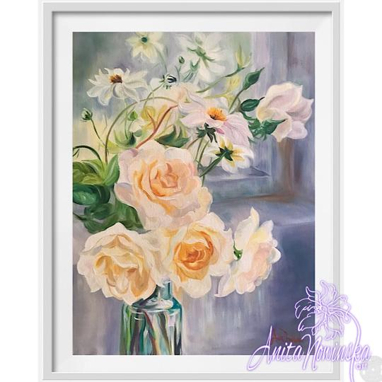 framed A3 print of white rose still ife flower painting by Anita Nowinska