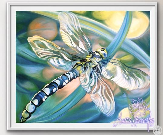 framed A3 print of turquoise dragonfly painting by Anita Nowinska