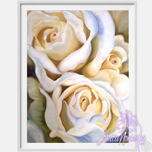 framed A3 print of white roses flower painting by Anita Nowinska