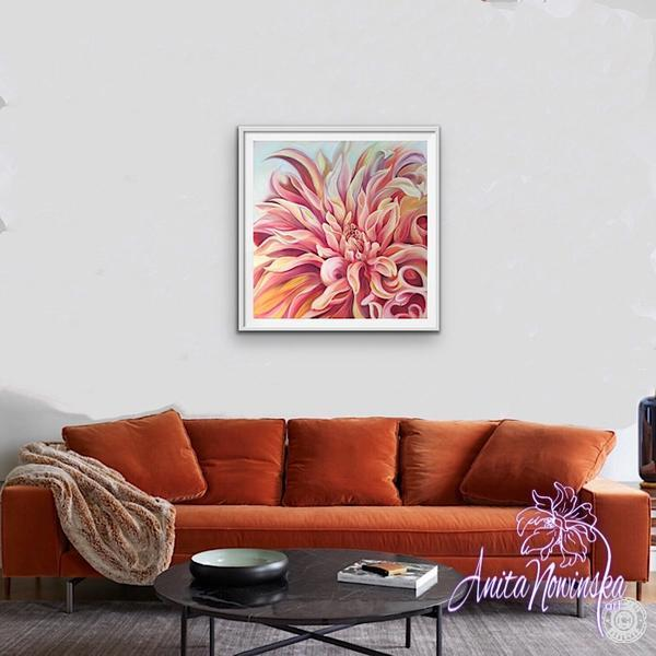framed limited edition print of peach labyrinth dahlia by Anita Nowinska living room decor