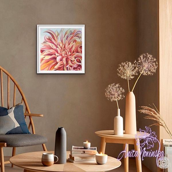 dining room decor with peach dahlia floral painting by Anita Nowinska