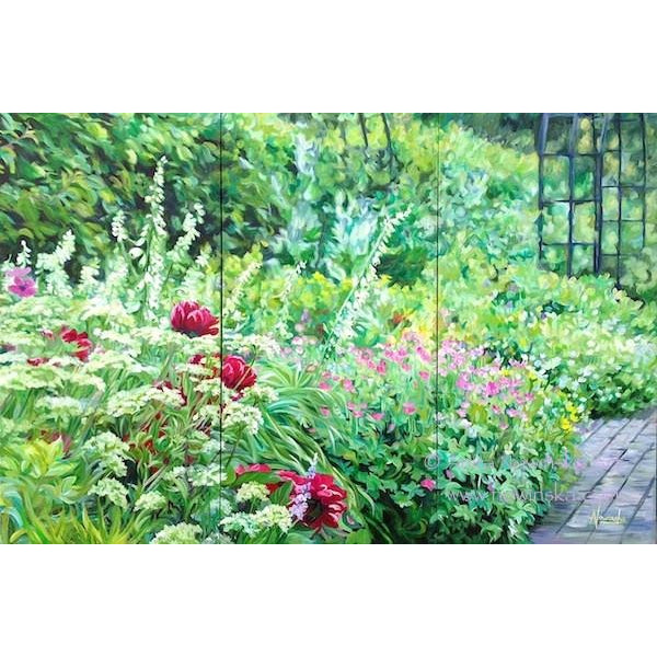 flower border rhs wisley- flower painting by anita nowinska