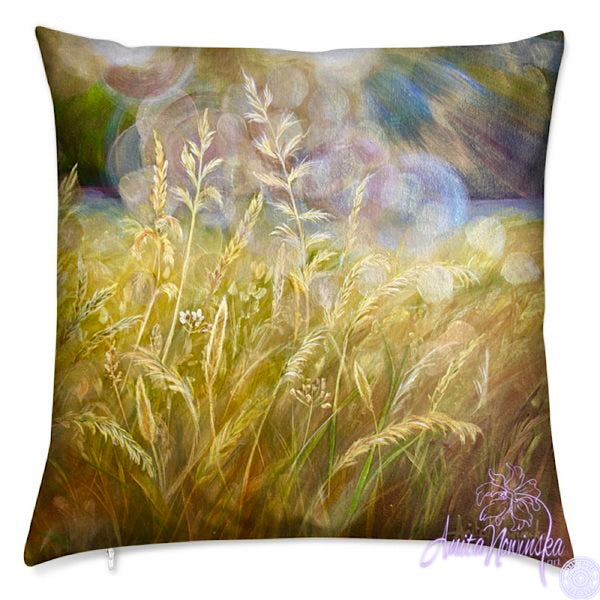luxury velvet cushion in gold with wild meadow grasses for interior decor, art