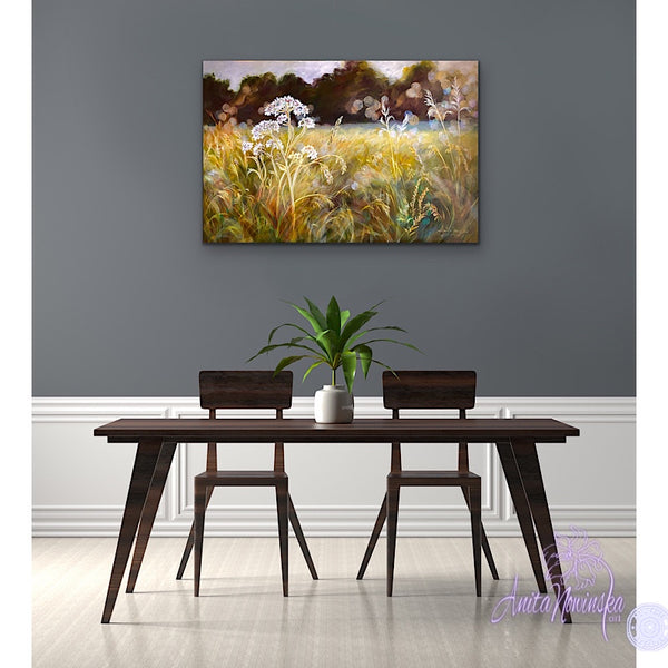 'Quiescence'-Sunlit Meadow Painting