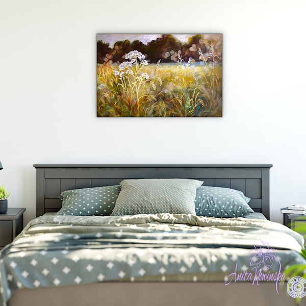 golden sunlit meadow with grasses & cowparsley, meadow painting by Anita Nowinska. Gold, ochre,green