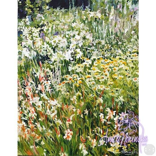 limited edition print of white, yellow & green garden flower painting by Anita Nowinska