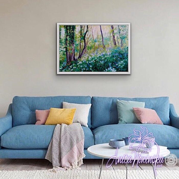 bluebell & ransom woods oil on canvas landscape by Anita Nowinska