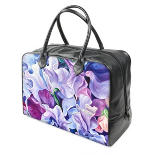 designer holdall bag- sweet peas- lilac- purple- handbag- luggage- floral bag- flower bag-anita nowinska art