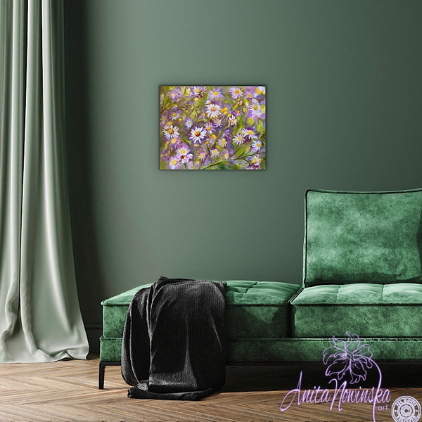 lilac aster flower painting. home accents on canvas by anita nowinska