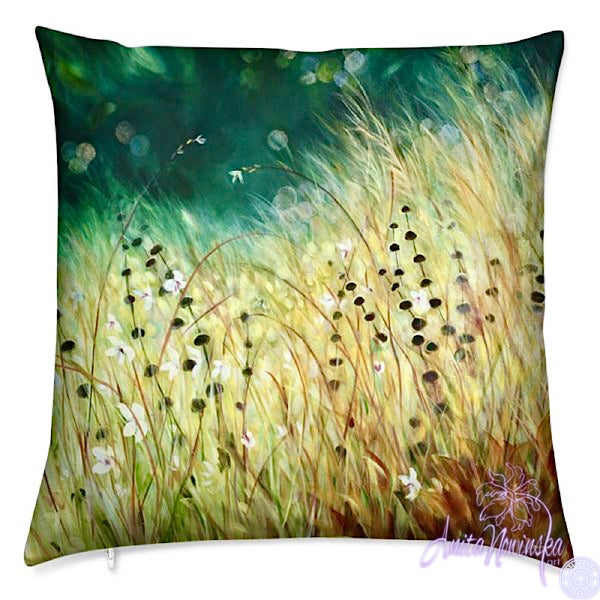 luxury velevt art cushion with golden grass meadow on teal for interior decor