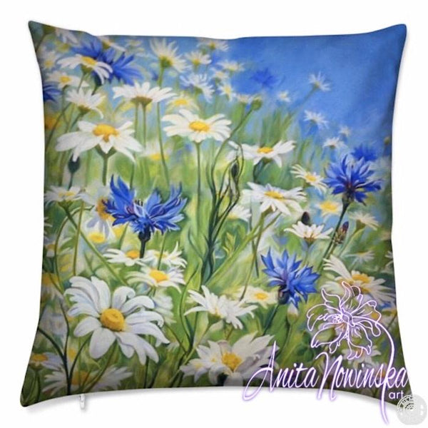 luxury floral velvet cushion with daisy & cornflower meadow flowers, blue, white & yellow