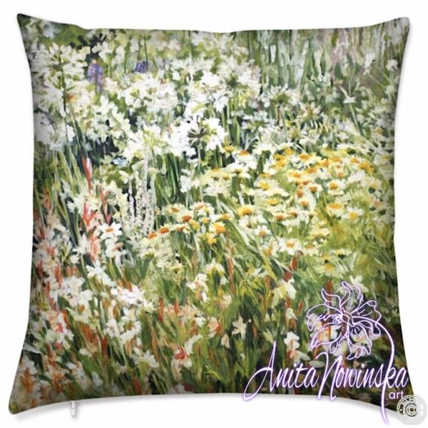 luxury floral velvet cushion with green, white & yellow garden flowers