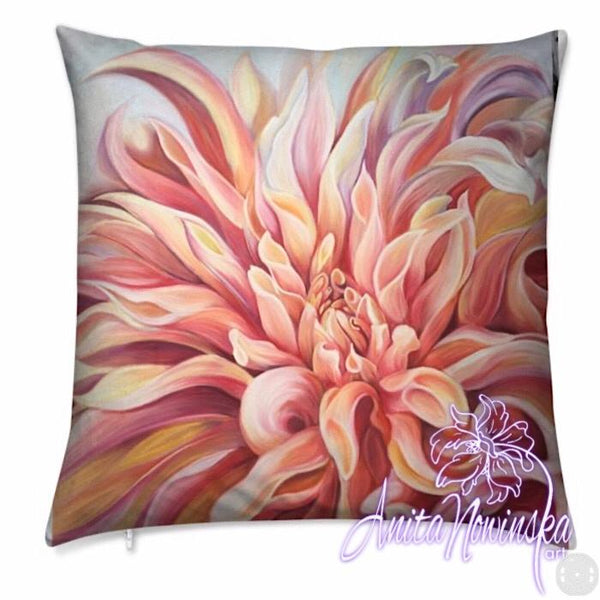 luxury floral velvet cushion with peach, orange dahlia flower painting