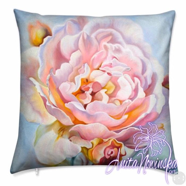 luxury floral velvet cushion with pale pink rose flower painting on pastel blue