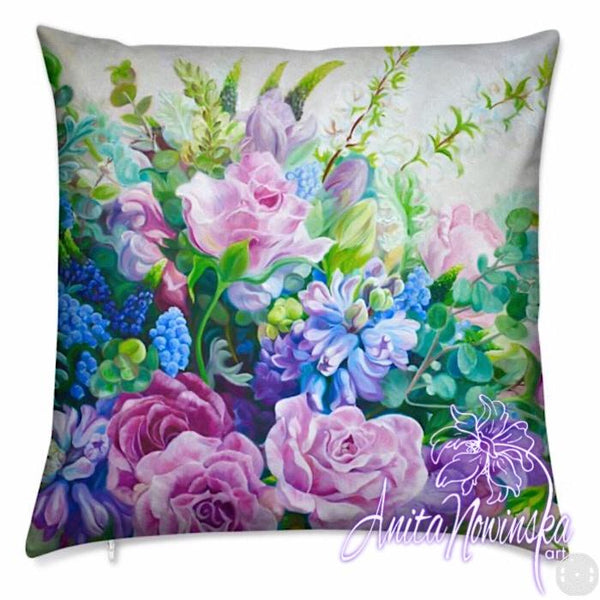 luxury floral velvet cushion with pink, blue & green roses, hyacinths flower painting from wedding bouquet