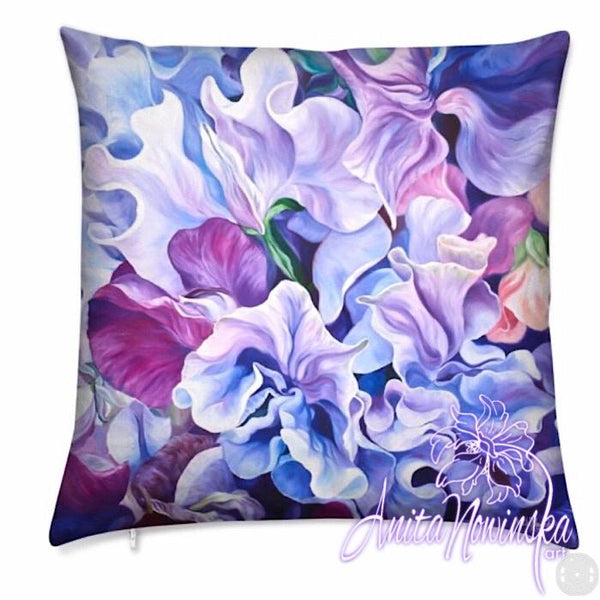 luxury floral velvet cushion with purple and lilac sweet peas flower painting