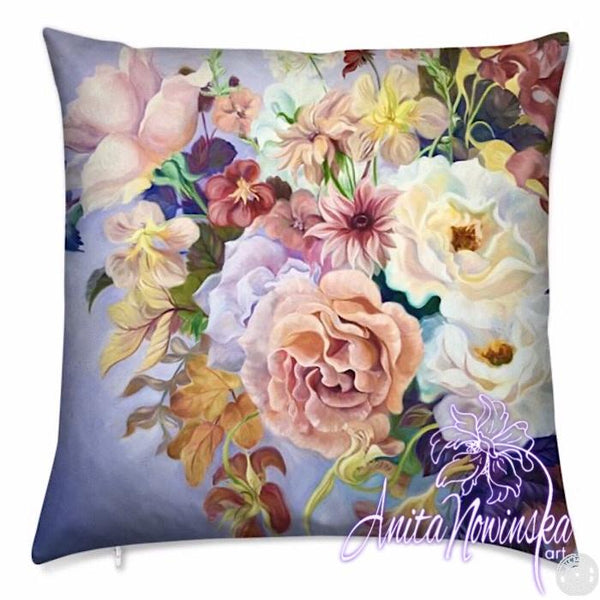 luxury floral velvet cushion with summer flower bouquet in lilac, gold, oink & magenta