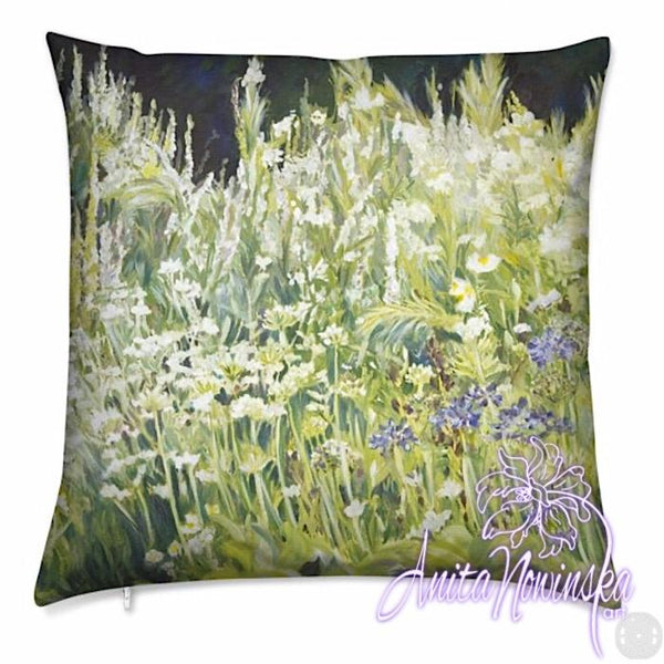 luxury velvet cushion with green & white garden border