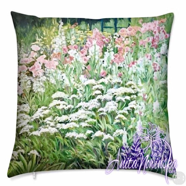 luxury velvet cushion with white, pink & green garden flowers
