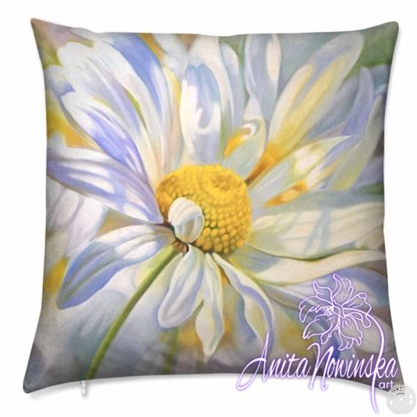 luxury velvet cushion with white $ yellow daisy flower painting