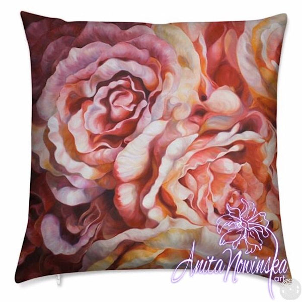 luxury velvet floral cushion with peach, orange, pink roses flower painting