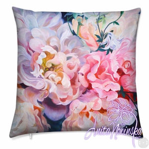 luxury velvet floral cushion with pink, peach, lilac peonies flower painting