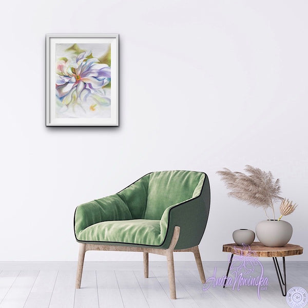 Magnolia flower drawing gallery wall by Anita Nowinska
