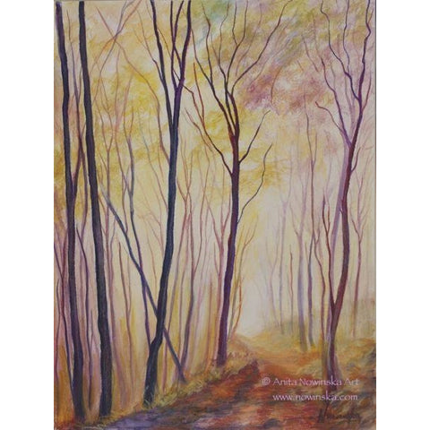 misty paths-autumn woodland landscape-anita nowinska-painting