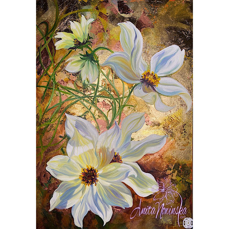 mixed media & gold leaf cosmos flower painting by anita nowinska
