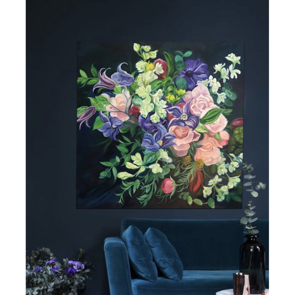 dark flower painting-wedding bouquet-floral art- statement art-anita nowinska- clematis, roses- pink-purple-oil on canvas