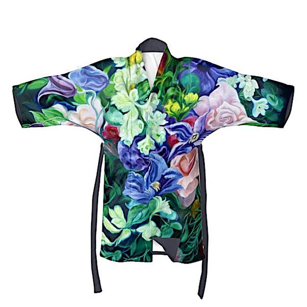 mystery- dark floral fabric designer silky or velvet kimono anita nowinska wearable art