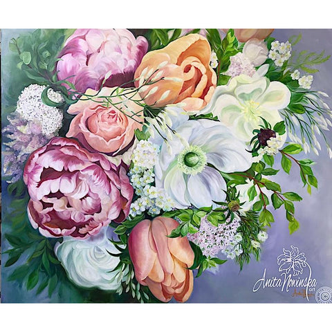 British flowers- still life- wedding bouquet- roses- nasturtiums- flower paintings- peach-red-white- anita nowinska-tulips-anemones,